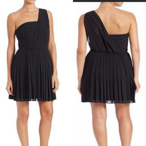 Rachel Roy black pleated one shoulder dress